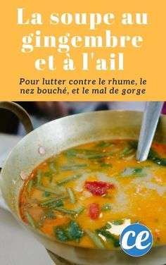 This Ancestral Ginger And Garlic Soup Combats Colds Stuffy Nose and Sore Throat. Juicer Recipes, Soup Recipes, A Food, Food And Drink, Garlic Soup, Salty Foods, Asian Recipes, Ethnic Recipes, Detox Soup