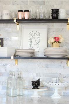 Our Black, Gold, Marble and Chic Kitchen Makeover Reveal White Farmhouse Kitchens, Farmhouse Kitchen Cabinets, Kitchen Cabinetry, Diy Kitchens, Dream Kitchens, Diy Kitchen Shelves, Kitchen Cabinet Styles, Kitchen Decor, Kitchen Ideas