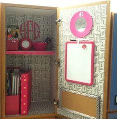 Back to school locker organization & diy decorations Cute Locker Ideas, Diy Locker, Locker Stuff, Locker Storage, School Fun, Back To School, School Hacks, School Stuff, School Goals