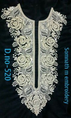 Nice... Zardosi Embroidery, Hand Work Embroidery, Couture Embroidery, Embroidery Suits, Embroidery Fashion, Embroidery Thread, Beaded Embroidery, Border Embroidery Designs, Machine Embroidery Patterns