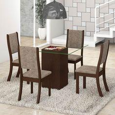 A Mesa de Jantar 4 Lugares Atena K da Viero Móveis acompanha tampo de vidro 6mm com largura e profundidade de 85 cm, base, kit decoração floral e 4 cadeiras kiara. A base da mesa 4 lugares é fabricada em MDF e MDP, e suas cadeiras são fabricadas em MDF e madeira maciça proveniente de reflorestamento. As cadeiras kiara que acompanham a mesa possuem o encosto fixo, com revestimento dos assentos em tecido Suede Amassado e suportam até 90 kg. A mesa de 4 lugares ainda possui como diferencial…