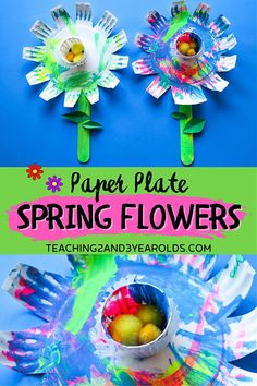 This colorful spring flower craft is so easy to make and looks adorable hanging in the home or classroom! #flower #art #paint #paperplate #craft #spring #toddlers #preschool #teaching2and3yearolds Flower Crafts, Flower Art, Daycare Crafts, Kids Crafts, Spring Activities, Preschool Activities, Preschool Garden, Spring Crafts For Kids, Spring Theme