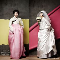 A hanbok , traditional Korean wedding outfit, gets modernized (and gorgeous!) in these gowns from Hanbok Lynn . Via Vim & Verve. Korean Fashion Dress, Korean Dress, Korean Traditional Dress, Traditional Dresses, Traditional Wedding, Modern Traditional, Ao Dai, Hanbok Wedding, Modern Hanbok