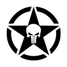 White Punisher Jeep Military Star Sticker Decal