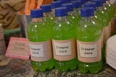 Minecraft Party :: Food :: green lemonade for creeper juice!