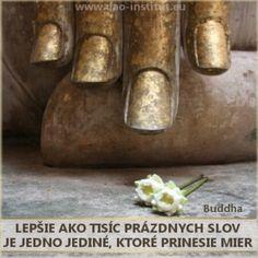 Lepšie ako tisíc prázdnych slov je jedno jediné, ktoré prinesie mier. Buddha