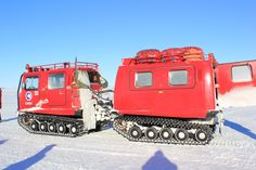 gregontheice | This is a [BAE Systems] Hãgglunds [Bandvagn 206 (Bv 206)]. They are great for driving on the snow and ice. We used this one to go out on the Ross Sea Ice. The trailer in the back is used to carry people and supplies. Our survival bags are located on the trailer roof. They have everything we need to survive in the harsh Antarctic environment if we get stranded out in the field.