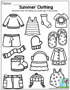 Seasons Worksheets, Summer Worksheets, Weather Worksheets, Kindergarten Worksheets, Worksheets For Kids, Math Literacy, Summer Preschool Activities, Preschool Weather, Sorting Activities