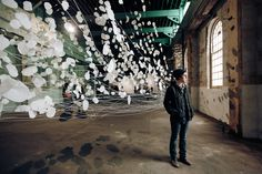 Monika Grzymala with her delicate paper installation 'The River' Paper Installation, Sydney, Modern Art, 18th, River, Artist, Wonderland, Delicate, Photography