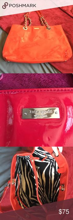 Kate spade leather bag RED Red Kate Spade patent leather tote. Inside is like new... On the bad there is some black marks but cannot be seen when carried .. Priced to move .. Will take offers 11 tall 17 wide 19 tall including shoulder straps kate spade Bags Shoulder Bags