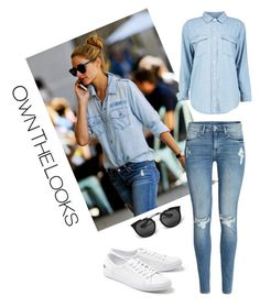 Street style by dalma-m on Polyvore featuring polyvore fashion style Boohoo H&M Lacoste Prada clothing shoes jeans sunglasses blouse