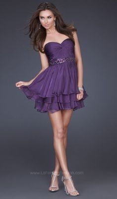 La Femme Fun Purple Layered Chiffon Short Homecoming Dress 16846