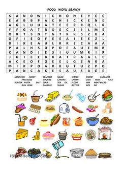 Food wordsearch. It is very interesting test, you  can use it as a dictation also. My students like wordsearches. This game improves writing skills and focusing. - ESL worksheets