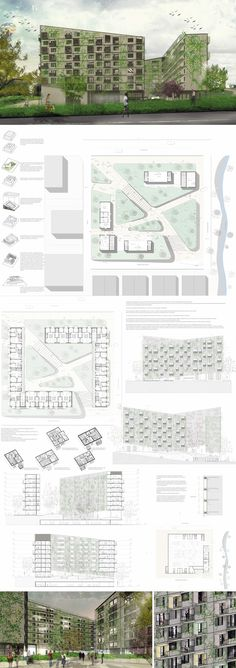 Complejo de viviendas - Student Living, Social Housing, Colour Pallete, Floor Plans, Layout, Exterior, Green, Projects, Planks