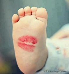 I used to kiss my kids' feet and quickly slip on their sock so the kiss would last them all day.