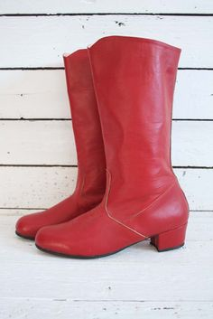 just listed: red sixties boots, never used! www.sugarsugar.nl