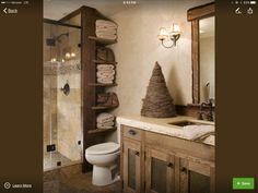 Rustic Design Interior US Rustic Bathroom Shelves, Rustic Bathroom Designs, Rustic Bathroom Vanities, Bathroom Storage Shelves, Rustic Bathrooms, Bathroom Vanity Lighting, Bathroom Organization, Bathroom Mirror Makeover, Modern Bathrooms Interior
