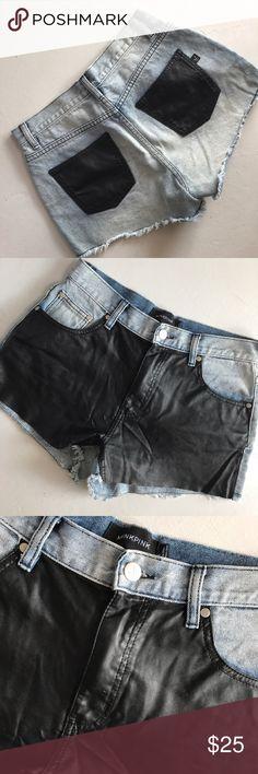 Minkpink Vegan Leather Shorts Reposhing.. Half Vegan Leather Half Denim shorts. Size S. MINKPINK Shorts
