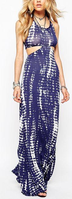 tie dye cutout maxi dress