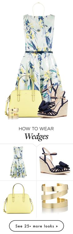 """Floral Dress with a Wedge"" by colierollers on Polyvore featuring Closet, Kate Spade and Étoile Isabel Marant"