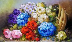 ramos de flores pintadas al oleo - Buscar con Google