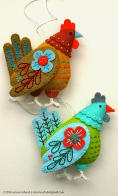 curated felt color collection for French Hen ornaments