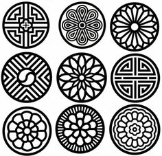 전통문양그림자료모음 : 네이버 블로그 Tile Design, Design Art, Pattern Design, Mandala Design, Mandala Art, 3d Laser Printer, Korean Design, Art Asiatique, Chinese Patterns