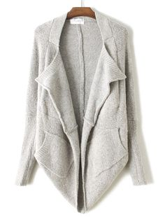 Grey Batwing Long Sleeve Asymmetrical Loose Cardigan US$43.61