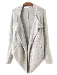 Grey Asymmetrical Loose Cardigan