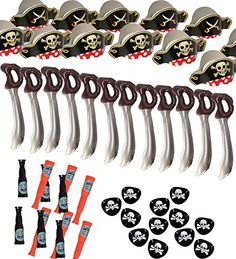 The Best Pirate party set. This set includes 12 cardboard pirate hats 12 Telescopes 12 Pirate Eye Patches 12 Inflatable Swords....