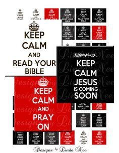 Instant Download - CHRISTian Keep Calm Black Red White (1 x 1 inch) Bottlecap Images Digital Collage Sheet - printable Pray On Jesus