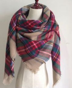 Red, Green, and Beige Plaid Blanket Scarf Fall and Winter Scarves