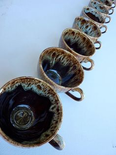 Set of 8 Drip Glaze Low Mugs  So Cute by salvagedspace on Etsy, $32.00