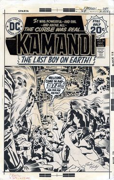 Original cover art by Jack Kirby (pencils) and D. Bruce Berry (inks) from Kamandi the Last Boy On Earth! #24, published by DC Comics, December 1974.