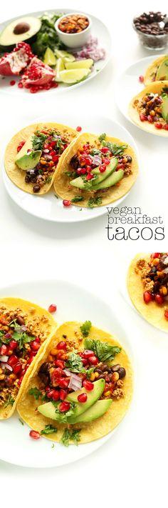 30 Minute Vegan Breakfast Tacos! Versatile, healthy, satisfying and SO delicious. #vegan #glutenfree #healthy