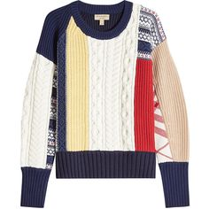 Burberry Wool Pullover (10.820.745 IDR) ❤ liked on Polyvore featuring tops, sweaters, shirts, multicolored, patterned sweater, white pullover, colorful sweaters, multicolor sweater and patchwork sweaters