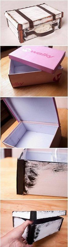 DIY Suitcase Out of Shoe Box; – by Ania Inspiruje(Manualidades Diy Home Decor) Fun Crafts, Diy And Crafts, Paper Crafts, Diy Projects To Try, Craft Projects, Craft Tutorials, House Projects, Creation Deco, Ideias Diy