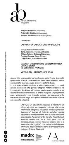 I miei boccaccielli per la serata LAB si presenta al MADRE,  mercoledì 19. Perché sostengo il bel progetto di LAB \ per un laboratorio irregolare di Antonio Biasiucci. Vi aspetto.