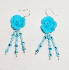 Blue Rose Beaded Earrings Sterling Silver Hooks