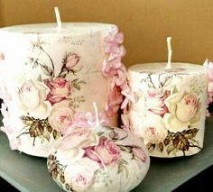 Handmade candles decoupage