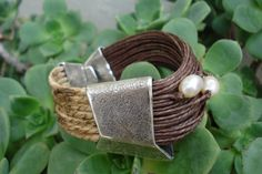 FREE SHIPPING.Ecofriendly Cuff Bracelet- Sterling Silver 925- Natural Linen Cord- Fresh Water Pearl.Exquisite Design.