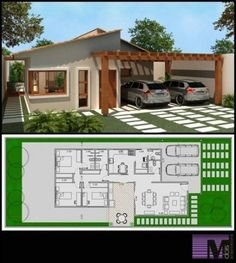 64 Ideas for garden house plans garage Dream House Plans, Modern House Plans, Small House Plans, Modern House Design, House Floor Plans, Villa Design, Home Design Plans, House Layouts, Architecture Plan