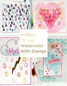 Four Ways to Use Watercolor with Stamps Neat And Tangled, Watercolor On Wood, Paper Crafts, Diy Crafts, Purse Patterns, Brush Lettering, Ink Painting, Distress Ink, One Color