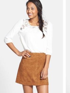 Jolt Skirt Nordstrom Faux Suede Perforated Mini Boho Festival 9 NWT