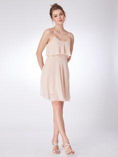 Flowy Short Chiffon Bridesmaid Dress #bridesmaiddress #bridesmaids #pinkdress #shortdress