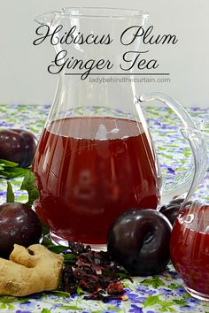 Hibiscus Plum Ginger Tea Ginger Tea, Ginger Hair, Healthy Dishes, Healthy Eating, Healthy Recipes, Healthy Food, Iced Tea Recipes, Plum Recipes, Amigurumi