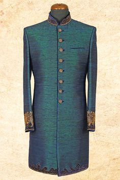 Peacock #blue aristocratic #raw silk sherwani with bandhgala-IW604