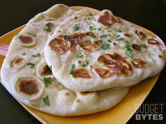 Homemade Naan - make a double batch & freeze some for 2 nights of Indian food! Yum!