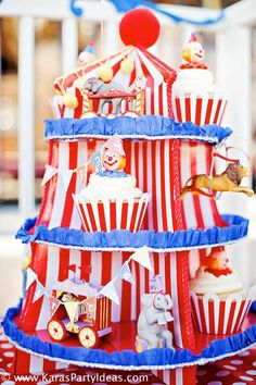 Circus Train Big Top Vintage Carnival Carousel Themed Birthday Party Ideas