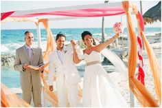 Photography by Robert Sukrachand, www.sukrachand.com     #wedding #destination #mexico #pink #orange #ceremony #canopy #bride #groom #beach #eventus